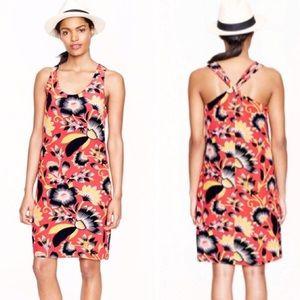 J. Crew Twist-Back Silk Dress in Hibiscus Floral